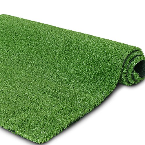 """Synthetic Artificial Grass Turf for Garden Backyard Patio Balcony,Drainage Holes & Rubber Backing, Indoor Outdoor Faux Grass Astro Rug Carpet,DIY Decorations (7FTX 7FT, 0.4"""" Pile Height)"""