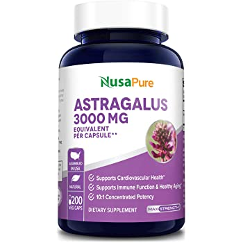 Astragalus 3000 mg Per Caps 200 Veggie Capsules (Vegan, Non-GMO & Gluten-Free) Max Strength - Supports Cardiovascular Health and Healthy Immune Functions*