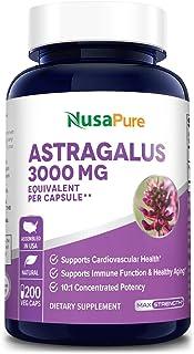Astragalus 3000 mg Per Caps 200 Veggie Capsules (Vegetarian, Non-GMO & Gluten-Free) Max Strength - Supports Cardiovascular...