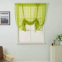 WUBODTI Roman Tie Up Shades Lattice Curtains Panels Valances Semi Sheer Voile Tulle Fabric Balloon Geometric Gauze Window Curtains and Drapes for Small Kitchen Windows 63 Inches Length