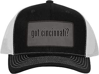 One Legging it Around got Cincinnati? - Leather Grey Patch Engraved Trucker Hat