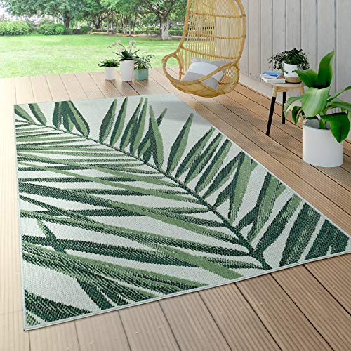 Alfombra Interior Exterior Verde Beige Palmeras Terraza Balcón Tejido Plano, tamaño:80x150 cm