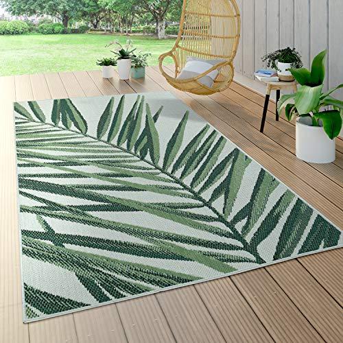 Paco Home In- & Outdoor Teppich Palmen-Muster Terrasse Balkon Flachgewebe Grün Beige, Grösse:100x200 cm