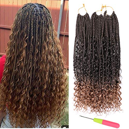7 Packs 20 inch Goddess Box Braids Hair with Curly Ends Crochet Hair Ombre 3X Synthetic Box Braids Crochet Braids Hair Bohemian Braiding Hair Extensions