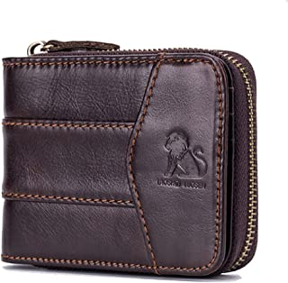 Tanpell Genuine Leather Men Wallets Short Coin Purse Small Retro Wallet Cowhide Leather Card Holder Pocket Purse Coffee