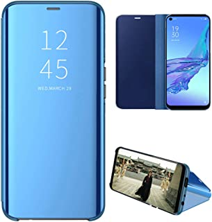 OPPO A53 Case, EabHulie Mirror Plating Hard PC +PU Leather Semi-transparent Standing View Case Cover for OPPO A53 Blue