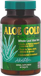 Aloe Life - Aloe Gold Tablets, Immune System Support and Healthy Herbal Bitter for Natural Digestive Aid, Energy and Body Wellness, Certified Organically Grown Whole Leaf Aloe Vera Leaves (90 Tablets)