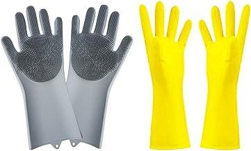1 paar herbruikbare Silicone handschoenen met Wash Scrubber (grijs), 1 Paar Gele Rubber Handschoenen, hittebestendige en w...