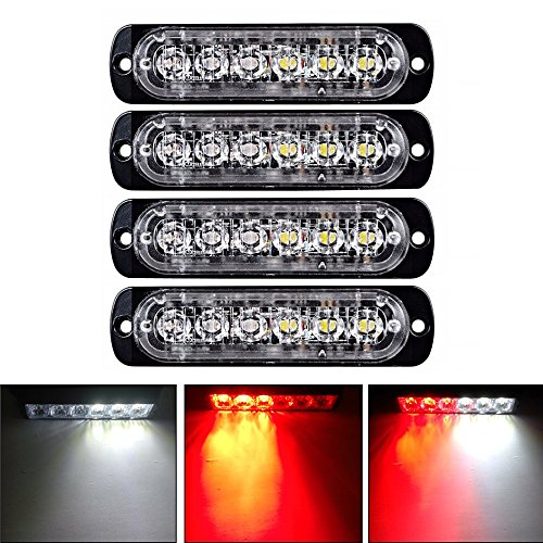 XT AUTO 6LED Car Truck Emergency Beacon Warning Hazard Flash Strobe Light Red/White 4-pack