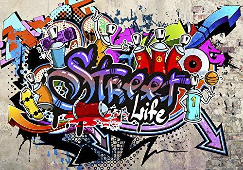 decomonkey | Papier peint intissé Graffiti 300x210 cm Trompe l oeil | Déco Mural Tableaux Muraux Photo Street Art Brique Mur de Pierre