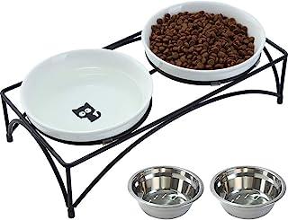 کاسه گربه های بلند FOREYY با 2 کاسه سرامیک و 2 کاسه فولاد ضد زنگ ، کاسه آب غذای گربه ای برجسته با پایه آهنی ، ظرف های حیوان خانگی چینی برای گربه ها و سگ های کوچک ، 16 اونس ، گاوصندوق ماشین ظرفشویی