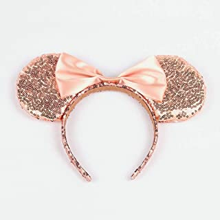 WLFY Mickey Mouse Minnie Mouse Sequin Ears Headbands Butterfly Glitter Hairband (Champagne)