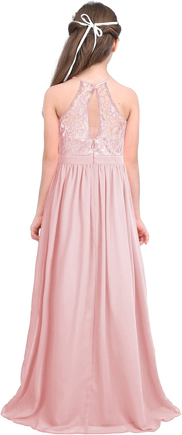 dPois Kids Girls' Halter Neck Floral Lace Junior Bridesmaid Wedding Long Dress Party Prom Ball Maxi Gowns