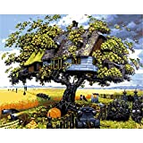 ZXDA Frameless DIY Pintura por números Imagen por números Paisaje Pared Arte Pintura acrílica para decoración del hogar Arte A1 40x50cm