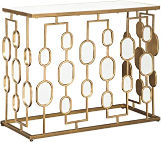 Ashley Furniture Signature Design - Majaci Console Table - Contemporary - Antique Gold Metal - Mirrored Glasstop and Accents