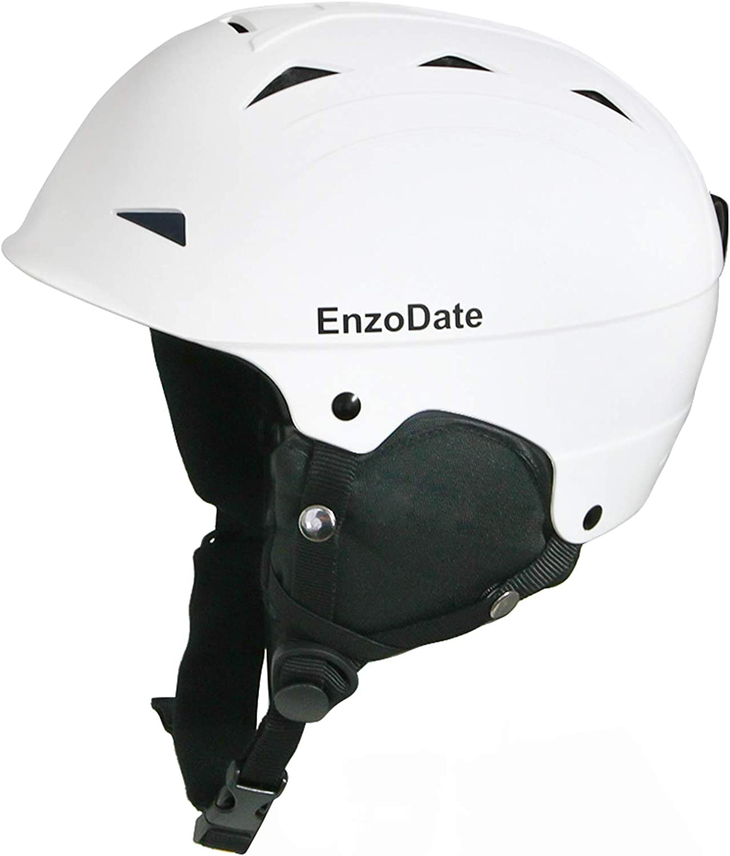 EnzoDate Casco da Sci da Sci Casco da Snowboard Leggero per Sport Invernali per Uomo Donna con paraorecchie Staccabili
