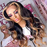 13x4 Lace Frontal Wig Pre Plucked 1b/27/30 Honey Blonde Lace Front Wig Body Wave Ombre Human Hair Wig With Baby Hair 150% Density Highlight Lace Front Human Hair Wigs (20inch)