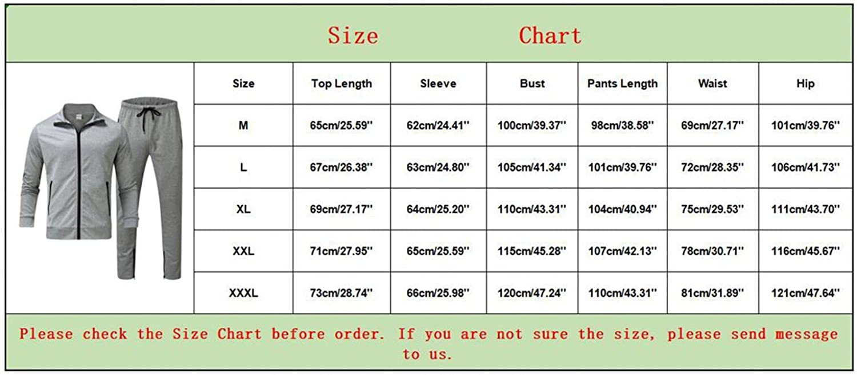 Mens Tracksuit 2 Piece Long Sleeve Zipper Coat & Sweatpants Set Casual Comfy Athletic Outfits Slim Outdoor Jogging Suit