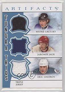 Wayne Gretzky; Jaromir Jagr; Eric Lindros (Hockey Card) 2012-13 Upper Deck Artifacts - Tundra Trios Jerseys - Blue #TT3-LJG