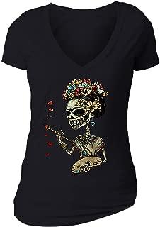 Women's Frieda Kahlo Skeleton Paint Sugar Skull Day of Dead V-Neck Short Sleeve T-Shirt