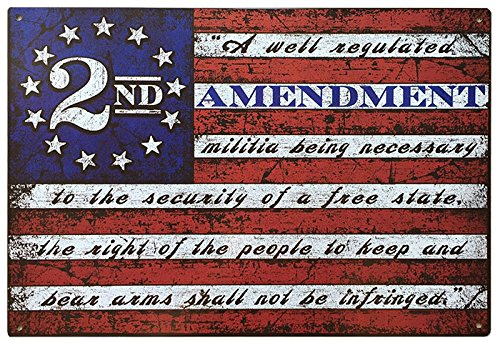 This Well Defend 2nd Amendment Brand Vintage American Flag Tin Sign 11' x 16' USA Second 2A Man Cave Decor