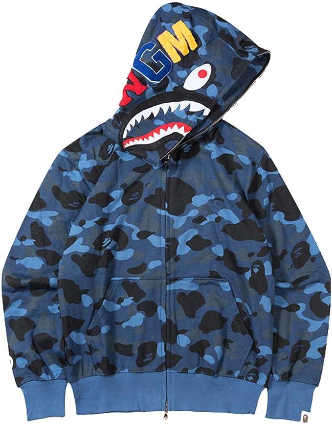 NEW Bathing Ape BAPE Full Zip Jacket Hoodie Coat Camouflage Coat Shark Head