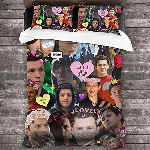Tom- Holland Set di biancheria da letto con copripiumino da uomo, morbido e confortevole, idea regalo per i fan delle donne, set da 3 pezzi (Tom Oland1, 155 x 200 cm + 50 x 75 cm x 2)