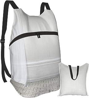 Mochila portátil plegable, mochila para computadora para adultos, cortinas blancas romance, antirobo, delgadas, duraderas, para portátiles