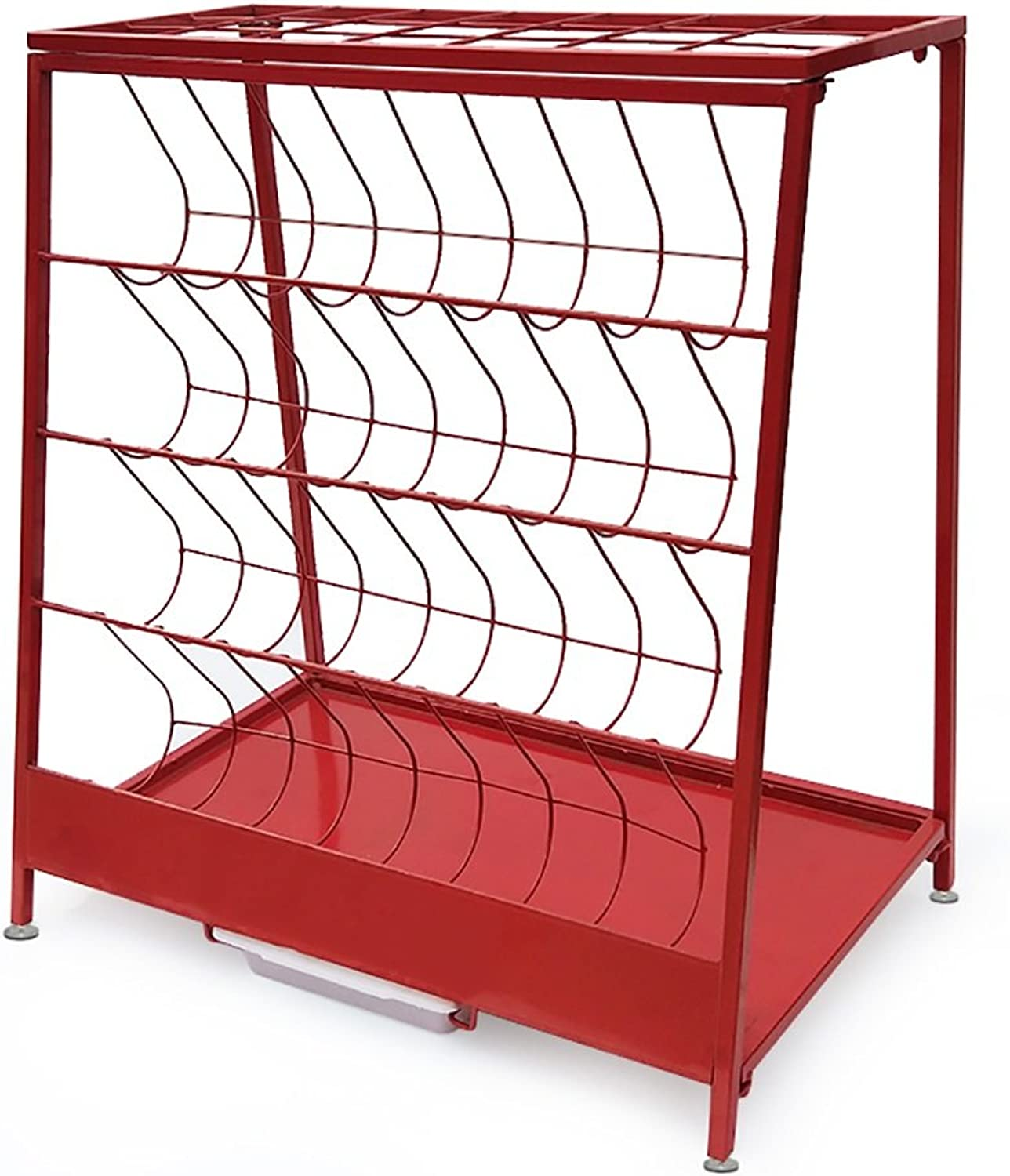 LICCC Iron Umbrella Stand, Hotel Shop Office Home Storage Rack, Landing Umbrella Rack,Trapezoidal 60  36  67cm (color   Red)