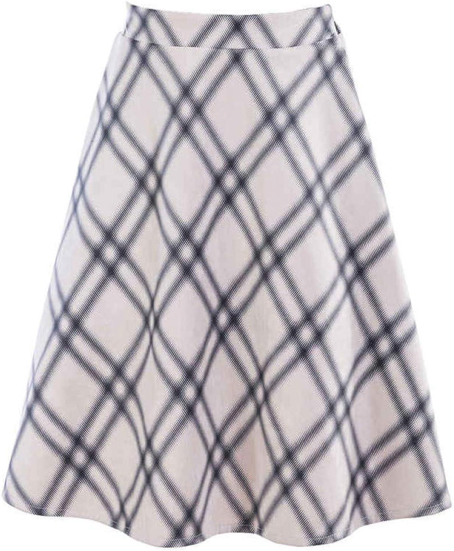 FSDFASS Skirt Women Fashion Short Skirts Women Fashion Plaid Elastic High Waist Office ALine Midi Skirts Female