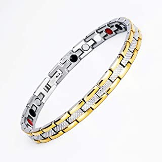 Ladies Elegant Magnetic Bracelet for Women Arthritis Pain Relief Perfect Health, Gold Silver
