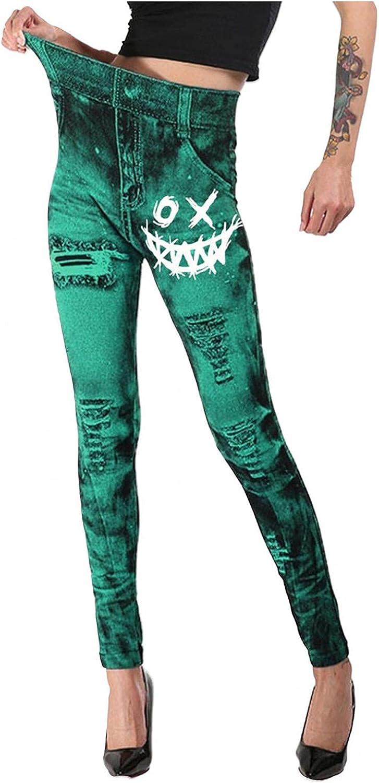 Women's Denim Print Fake Jeans Skeleton Pumpkin Face Print Stretch High Waist Jeggings Halloween Funny Graphic Leggings