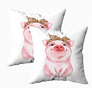 KIOAO Standard 18X18Inch Set of 2 Pillow Case Square Throw Pillowcase Covers Funny Pig Wearing Leopard Bandana Isolated Wh...