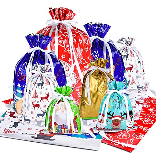 MIAHART 16 PCS Christmas Drawstring Bags Assorted 6 Style Christmas Wrapping Bags Assorted Styles Xmas Party Treat Bag for Christmas Kids Party Favors Supplies