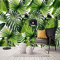 カスタム3D写真の壁紙緑の葉オイルアート壁画自己接着壁画ステッカーリビングルームベッドルーム-250x175cm