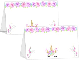 POP parties Magical Unicorn Table Tents - 12 Unicorn Buffet Cards - Unicorn Place Cards - Unicorn Party Decorations -Unicorn Party Supplies - Lashes