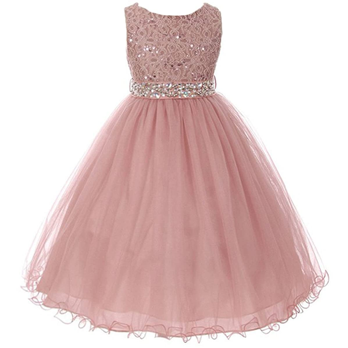AkiDress Sequin Lace Top with Tulle Bottom Flower Girl Dress