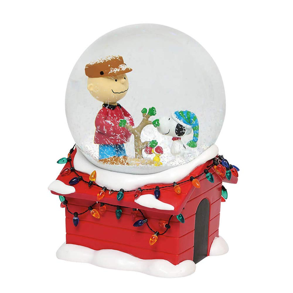 Image of Musical Christmas Peanuts Snoopy Doghouse Snowglobe