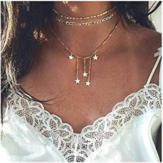 Adflyco Boho Tassel Choker Necklace Star Pendant Necklaces Chain Jewelry Adjustable for Women and Girls (Gold)