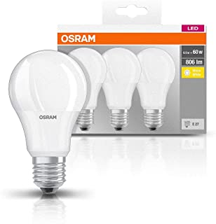 Osram Base Classic A - Lámpara LED, E27, 60W, color blanco (Paquete de 3)