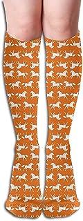 ulxjll, Calcetines Caballo Caballos Naranja Niños Brillante Animal Farm Wallpa Calcetines Deportivos Calcetines Hasta La Rodilla Calcetines Largos Calcetines De Compresión 50Cm