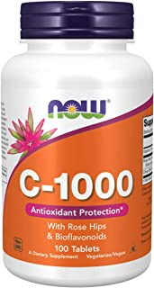 NOW Supplements, Vitamin C-1,000 with Rose Hips & Bioflavonoids, Antioxidant Protection*, 100 Tablets