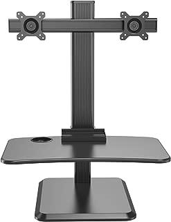 Halter Sit Stand Desk Converter - Up & Down Standing Desk & Dual Monitor Mount w/Easy to Use Gas Lift Mechanism - Height Adjustable Desk - Wide Platform