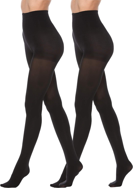 AONI Women's Control Top Pantyhose Compression Ultra Soft Opaque Tights 70 Denier Black/Suntan