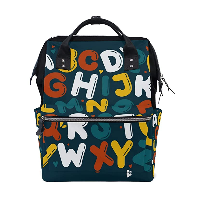 English Capital Letters Alphabet School Backpack Large Capacity Mummy Bags Laptop Handbag Casual Travel Rucksack Satchel For Women Men Adult Teen Children