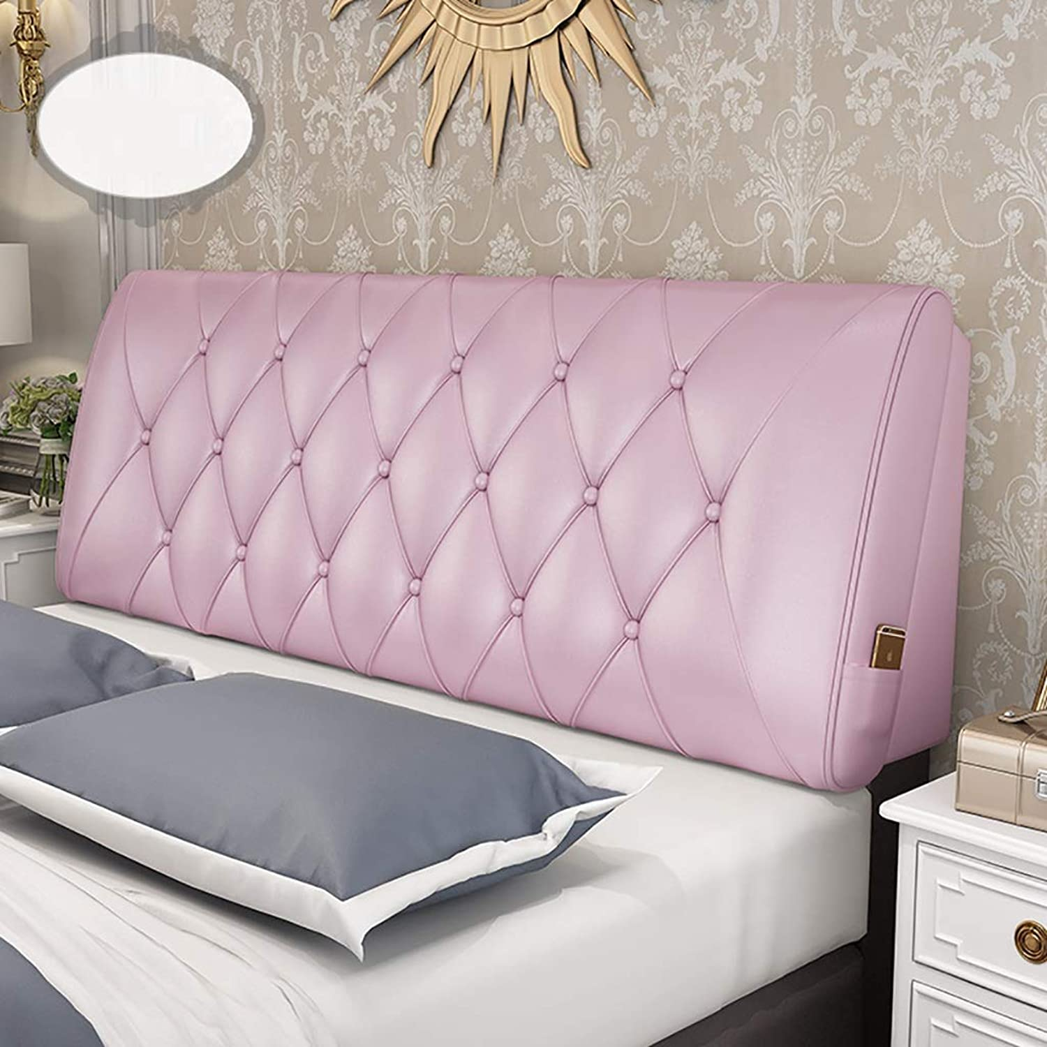 Headboard Bed Backrest Cushion Bed Cushion Bedside Pillow Without Headboard Leather Large Soft Pillow Lumbar Support 10 Solid colors 5 Sizes (color   Princess Pink, Size   120  58  10cm)