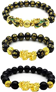 Feng Shui Black Obsidian Wealth Bracelet, 3 Pcs Good Luck Pi Xiu Bracelets for Women Men Attract Health Wealth Money Feng ...