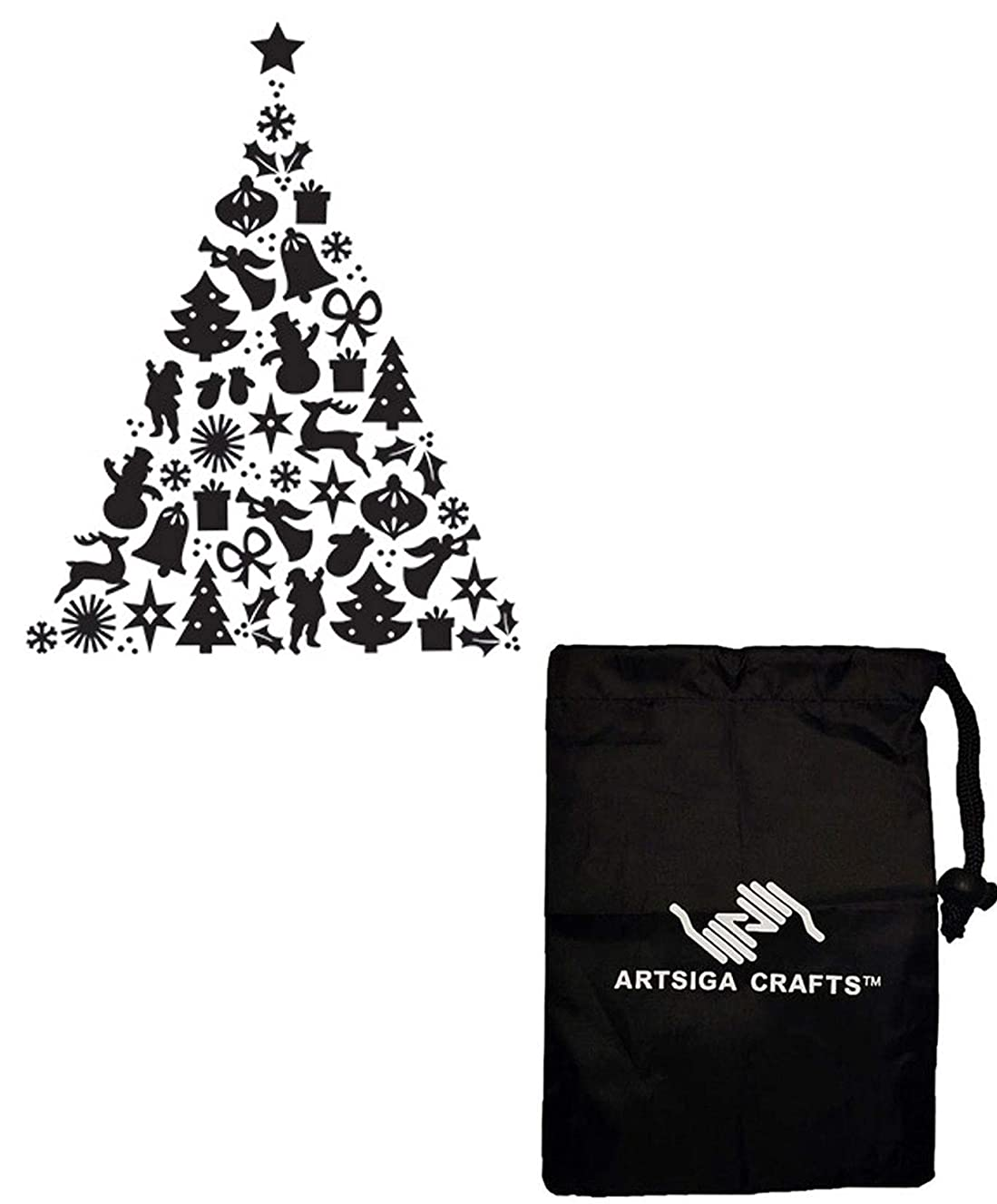 Darice Embossing Folders for Card Making Pattern Christmas Tree 4.25 x 5.75 inches 30041350 Bundle with 1 Artsiga Crafts Small Bag
