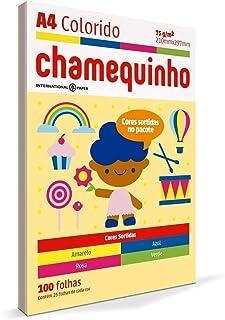 Papel Sulfite A4, Colorido, Chamequinho, 75 gramas, 4 Cores, 210x297 mm, International Paper, Chamex, 29883, 100 Folhas