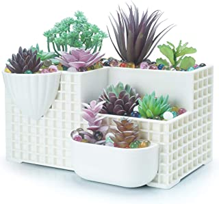 ARTKETTY White Plastic Succulent Pots Rectangular Desktop Bonsai Tree Stand Large Topiary Planters Indoor/Outdoor Cactus Potted Holder Window/Wall Hanging Planter Flower Containers